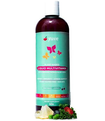Yuve Vegan Liquid Daily Multivitamin - Vitamins A B C D3 E, Zinc, Biotin, Opti MSM, Minerals and Amino Acids Complex (BCAA) - Natural, Non-GMO, Paleo, Sugar and Gluten Free - Cherry and Cranberry - 16oz