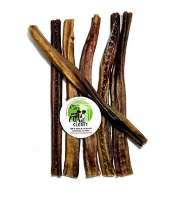 12-inch Standard, Thick, X-Thick or Jumbo Bully Sticks for Dogs Made in USA Boutique Grain-Free High-Protein Beef Pizzle Dog Chews by Sancho and Lola's