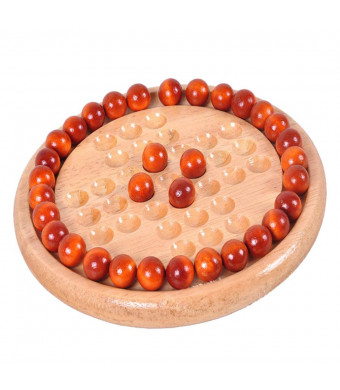 KILOTOY Wooden Solitaire Board Game with Marble Balls Traditional Challenging Checkers Board Game for Kids and Adults.