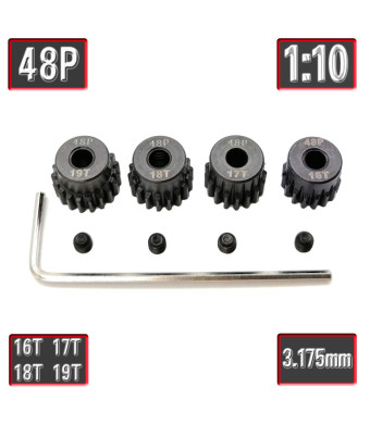MakerDoIt 48p 16T 17T 18T 19T Pinion Gear Set with Screwdriver for 3.175mm Shaft Traxxas Redcat Tamiya Losi 1/10 RC Car