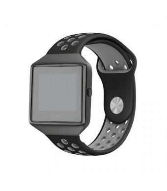 Leetoyi Compatible with Blaze Bands, Sport Silicone Replacement Strap with Frame Smart Fitness Watch (Black/Gray, Small)