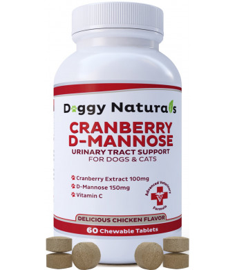 Cranberry D Mannose for Dogs and Cats Urinary Tract Infection Support Prevents and Eliminates UTI, Bladder Infection Kidney Support, Antioxidant Made in USA ( Doggy Naturals)