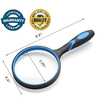 3.95 Inch Large 3X Magnifying Glass for Reading,Soft Rubber Handle Handheld Optical Glass Magnifier for Senior Kids Reading Book Map Hobbies Insect Classroom Science-Blue