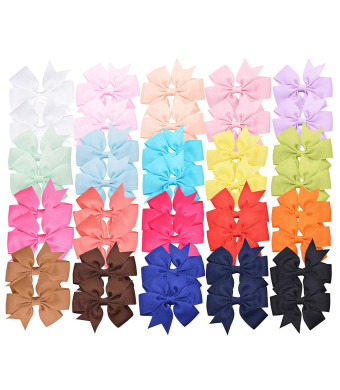 """Prohouse 40 PCS 3"""" Baby Girls Ribbon Hair Bow Clips Barrettes For Girl Teens Kids Babies Toddlers"""