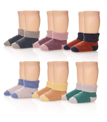 Eocom 6 Pairs Children's Winter Thick Warm Wool Socks Soft Kids Socks Random Color