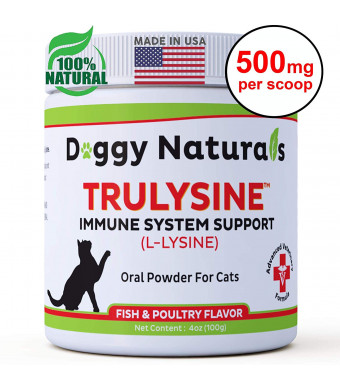 L Lysine for Cats Immune Viralys Support Oral Granule Powder - 500 mg per serving ( 4oz) - Cats and Kittens, Immune Health, Sneezing, Runny Nose,Squinting Palatable Fish and Poultry Flavor L Lysine Powder