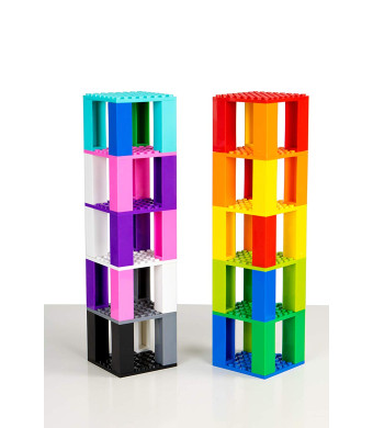 Classic Baseplates Mini Brik Tower and Cube 2 in 1 Set | Building Bricks and Blocks Compatible With All Major Brands | Ages 5+ STEM Toy | 12 Color Stackable 8x8 Base Plates, Stackers, 3D Briks | 72 Pieces