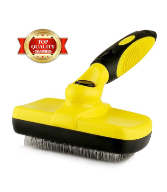 Professional Self Cleaning Slicker Brush for Pets (Dogs, Cats, Others), Rugs, and Others - Ergonomic Soft Grip Handle - Reduces Shedding and Eliminate Mats, Tangles and Hairballs  Brush by Prime Pet