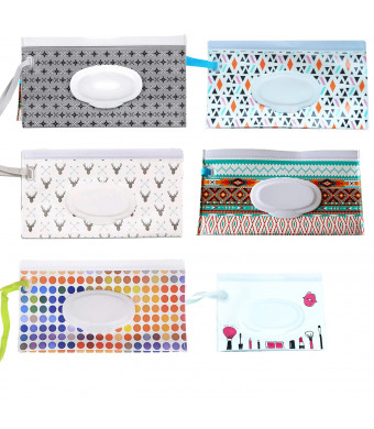 6 Pack Reusable Wet Wipe Pouch - Wipes Dispenser for Baby or Personal Wipes - Baby Portable Travel Wipes Cases