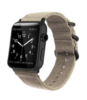 Tan Nylon Compatible Apple Watch Band 38mm/42mm NATO Replacement Wrist Woven Strap with Black Steel AdaptersandBuckle Compatible iWatch Band Series 3,2,1 Sport Nike+ MenandWomen