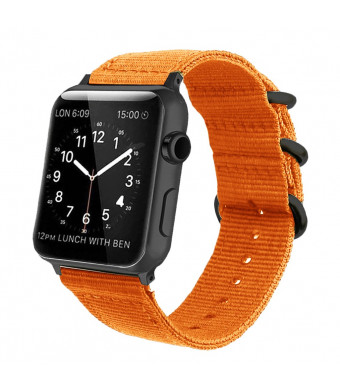 Orange Nylon Compatible Apple Watch Band 38mm/42mm NATO Replacement Wrist Woven Strap with Black Steel AdaptersandBuckle Compatible iWatch Band Series 3,2,1 Sport Nike+ MenandWomen