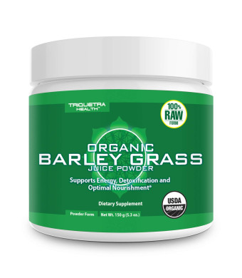 Organic Barley Grass Juice Powder - Grown in Volcanic Soil of Utah - Raw and BioActive Form, Cold-Pressed Then CO2 Dried - Compliments Wheatgrass Juice Powder - 5.3 oz