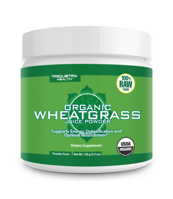 Organic Wheatgrass Juice Powder - Grown in Volcanic Soil of Utah - Raw and BioActive Form, Cold-Pressed Then CO2 Dried - Compliments Barley Grass Juice Powder - 5.3 oz