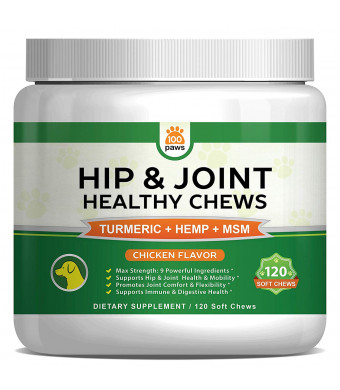 Hip and Joint Supplement for Dogs - Hemp Oil Infused Soft Chews Dog Treats w/Glucosamine, Turmeric, Chondroitin, MSM and Omega 3 6 9 - Supports Pet Mobility, Pain Relief and Arthritis - 120 Treat Bites
