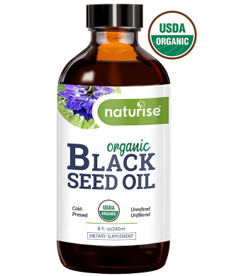 Naturise Black Seed Oil Organic Cold Pressed - Black Cumin Seed Oil, Nigella Sativa - Source of Essential Fatty Acids, Omega 3 6 9, Super Antioxidant for Immune Boost, Joints, Skin and Hair, 8 oz