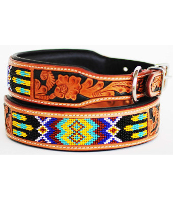 Dog Puppy Collar Genuine Cow Leather Padded Canine 6095