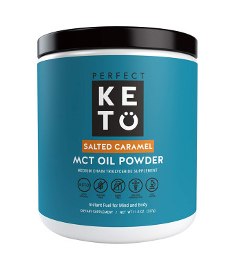 Perfect Keto MCT Oil Powder: Salted Caramel Ketosis Supplement (Medium Chain Triglycerides, Coconuts) for Ketone Energy. Paleo Natural Non Dairy Ketogenic Keto Coffee Creamer
