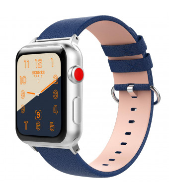 TiMOVO Band Compatible Apple Watch 38mm, Premium Genuine Leather Lichee Pattern Strap with Watch Lugs Replacement for iWatch 38mm Series 3 Series 2 Series 1, Dark Blue