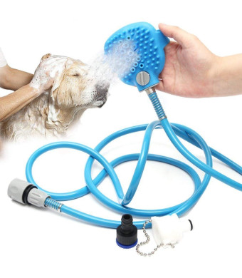 UNFADE MEMORY Pet Shower Sprayer, Pets Hand-held Shower Bathing Glove Sprayer With Grooming Brush Head 7.5 Ft Hose and Rubber, Indoor/Outdoor Use