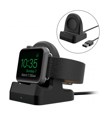 Replacement for Apple Watch Wireless Charger TPU iWatch Wireless Charging Stand Compact Holder Dock with Wireless Charger Built Inside, Fit All Apple Watch Series 3/Series 2/Series 1/42mm/38mm Black
