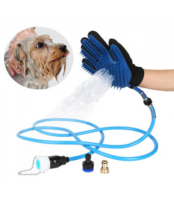 Elough Pet Bathing Tool Pet Bath Sprayer for Dog and Cat Bathing Massage Combo with Pet Grooming Glove and 3 Faucet Adapters Pet Shower Sprayer