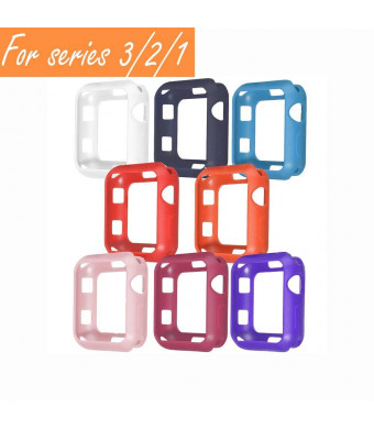 V1take Compatible with Apple Watch Case 38mm 42mm, [8 Pack] Slim Lightweight Shock-Proof Iwatch Protector Case Compatible with Apple Watch Series 3 Series 2 Series 1, Sport, Edition (Bright,38mm)