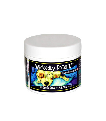 Wickedly Potent All Natural Nose and PAW Salve for Dogs, Pet First aid for Dry Cracked paw Pads and Nose and Wound Care for Safe and Effective Healing and Soothing Herbal Concentration