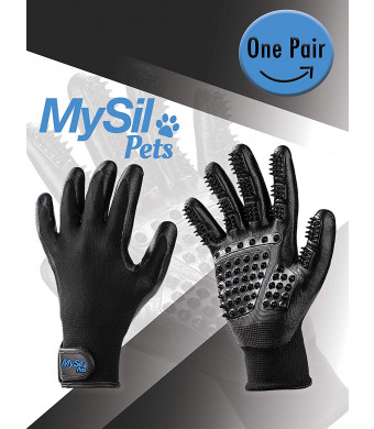 MySil 4 in 1 Pet Deluxe Grooming Glove. Best for Shedding, Bathing, Massaging and Brushing for Short or Long Hair. Gentle Touch for Dogs, Cats, Horses and Other Pets. Waterproof, Comfortable and Durable