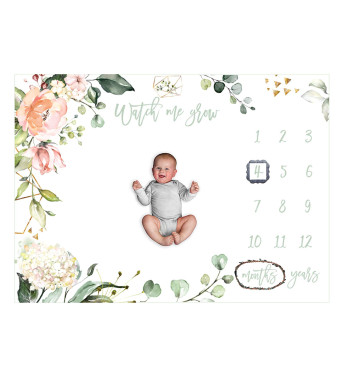Baby Monthly Milestone Blanket Girl Yearly Growth Track - Newborn Infant Large Photo Prop Soft Fleece Backdrop Free Frame Kids Shower Gift for Photography Background