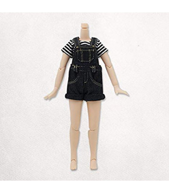 Original Doll Clohtes Outfit, Striped T-Shirt(Black) and Short Dungarees(Black or Blue), Doll Dress Up for 1/6 12inch Blythe Doll or ICY Doll- Fortune Days