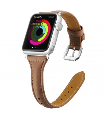Genuine Leather for Apple Watch Band 38mm 40mm Slim Replacement Wristband Sport Strap for Iwatch Series 4 3 2 1, Edition, Nike+,with Stainless Steel Buckle(Brown)