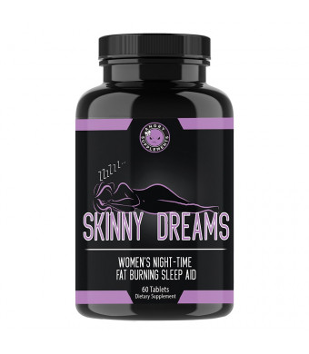 Angry Supplements Skinny Dreams, Night Time Sleep Aid for All-Natural Weight Loss, Restful Sleep w/Melatonin, Burn Fat Overnight, Suppress Appetite, Non-GMO Vegetarian Formula (1-Bottle (60 ct))