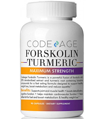 Turmeric Forskolin Extra Strength Formula - 90 Count - Pure Plant - Anti-Oxidant - Fusion of Forskolin 20% Standardized Extract and Turmeric Root for Women and Men - Coleus Forskohlii - Satiety