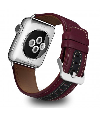 UMAXGET for Apple Watch Genuine Leather Band, 38/40MM 42/44MM Fashionable Strap (Vintage Style) with Stainless Steel Buckle for Apple Watch Series 4/3/2/1 Sport Edition