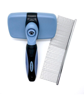 #1 DOG BRUSH Self Cleaning Slicker Brush with FREE Steel Grooming Comb by Sir Merrik