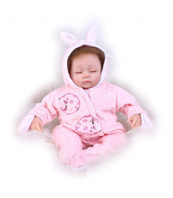 Pompon Vinyl Silicone Babies 16inch 40cm Doll Newborn Real Baby Doll Reborn Baby Doll Realistic Baby Dolls Life Like Reborn Pacifier Doll Lovely Baby Pink Sleep Reborn Baby Dolls(PP005)