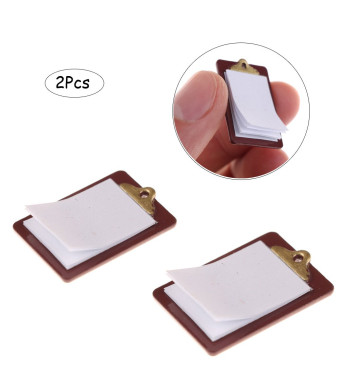Ximimark 2Pcs Mini Dollhouse Miniature Accessories Alloy Clipboard with Real Paper Attached