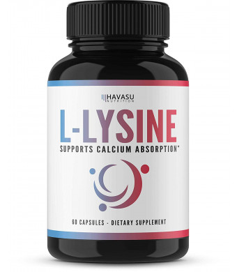 L-Lysine, High Potency Designed for Immune Support and Maintenance of Healthy Arginine Levels, Treatment of Cold Sores, and Skin Care; Non-GMO; 60 Capsules for Men and Women