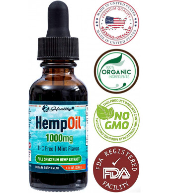 Hemp Oil for Pain and Anxiety Relief - 1000mg Organic Full Spectrum Hemp Extract Drops Tincture - Natural Supplement for Better Sleep, Mood and Stress - Zero THC CBD Cannabidiol