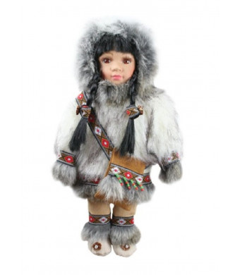 "ACE USA 12"" Porcelain Native Alaskan Doll with Parka and Purse (White)"