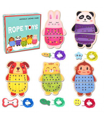 Wooden Animals Lacing Cards Rope Toys, 5 Wooden Panels and 5 Matching Laces Threading Toy, Farm Zoo Animal Lace and Trace Activity Set, Enhance Motor Skills Games for Kids Aged 2 + Years Old