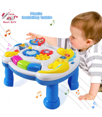 HOMOF Baby Toys Musical Learning Table 6 Months up-Early Education Music Activity Center Game Table Toddlers,Infant,Kids Toys for 1 2 3 Years Old Boys and Girls- Lighting and Sound Gifts