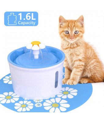 Pet Fountain Cat Fountain Dog Cat Water Dispenser 2.5L Cat Water Fountain Automatic Drinking Water Bowl with 2 Replacement Filters 1 Free Mat Fountain for Cats Dogs Birds Small Animals