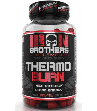 Thermogenic Fat Burners for Men/Women - Hardcore Weight Loss Pills - Appetite Suppressant- Premium Metabolism/Energy Booster  60 Gelatin Capsules - Keto Friendly - Iron Brothers Thermo Burn