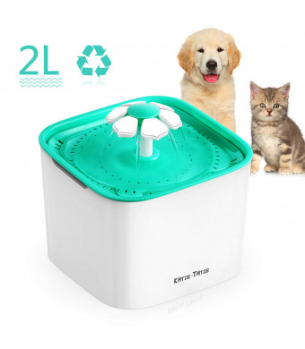 Pet Fountain Cat Water Dispenser, 2L Super Quiet Flower and Replaceable Filter, Automatic Electric Water Bowl for Cats, Dogs, Birds and Small Animals Green - KatzeTatze