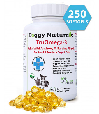Tru Omega 3 Fish Oil for Dogs, Natural 250 Softgel Pills, 1000 mg EPA DHA Dog Fish Oil Supplement for Joint, Arthritis, Relief, Allergy, Itch, Shedding,Hot Spot,Joint USA