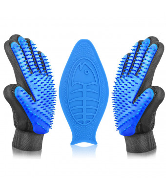 Pet Grooming Glove Cat Brush Hair Remover Dog Bath Brush Dog Brushes for Shedding Bath Buddy for Dogs Massage Glove for Horses / Lick Pad Dog Bath Distraction Device Perfect Match (1 Pair+lick Pad