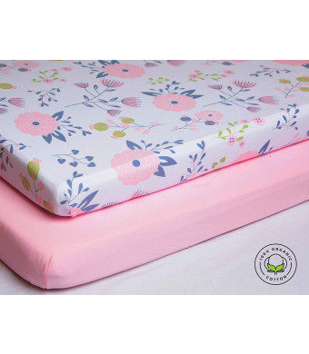 Pickle and Pumpkin Premium Crib Sheets | 100% Organic Cotton Nursery Bedding | 2 Pack Fitted Crib Bedding Set for Baby Girl | Fits Standard Baby Crib Mattress and Toddler Mattress | Floral and Pink Design