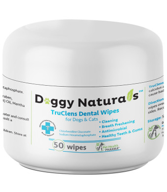 Doggy Naturals   #1 Dental Wipes for Dogs and Cats (50 Wipes) Made in USA TruClens