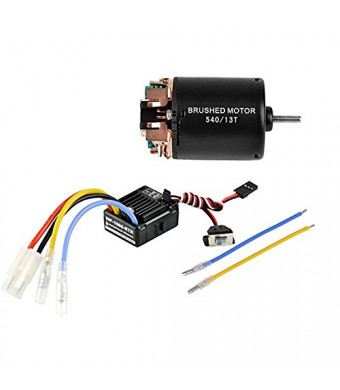 540 13T 4 Poles Brushed Motor and WP-1060-RTR 60A Waterproof Brushed ESC Electronic Speed Controller with 5V/2A BEC for Axial RC4WD Cross HPI Mist GMADE D90 D110 TF2 SCX10 ii PG4 MC8 WARAITH Y (13T)